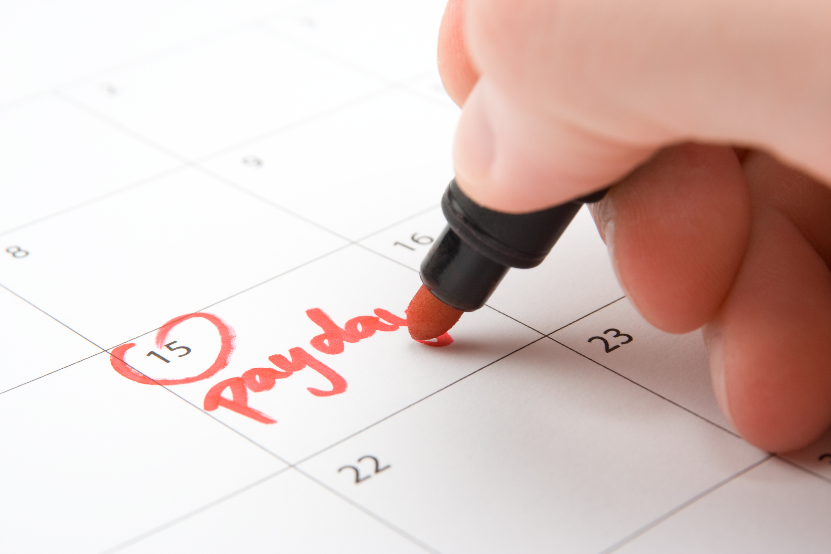 Hand write payday in to calendar (lead a hand-to-mouth existence)